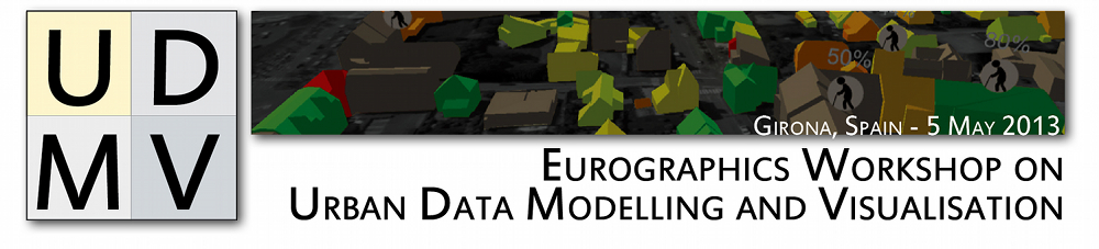 UDMV logo image, Eurographics Workshop on Urban Data Modelling and Visualisation, Girona, Spain, 5 may 2013